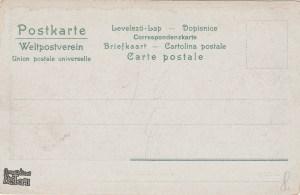 Tył pocztówki z przedwojennym widokiem na Stągwie Mleczne i Most Stągiewny