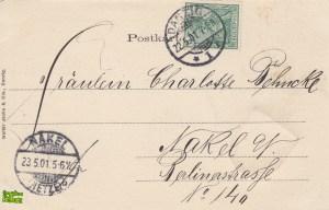 Motława i pakownia - tył pocztówki z 1901 roku
