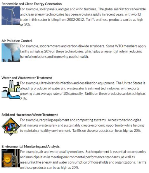 Gráfico: USTR. La Representación Comercial de Estados Unidos dio estos ejemplos entre las categorías de productos a desgravar.