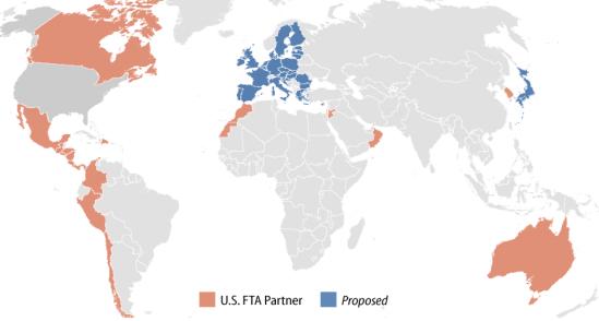 Estados Unidos tiene actualmente 14 Tratados de Libre Comercio (TLC) vigentes, que abarcan 20 países.