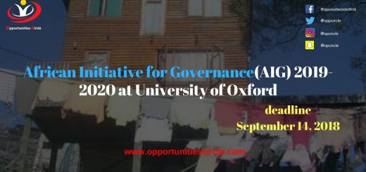 Africa Initiative for Governance (AIG) Scholarships 2019-2020 at University of Oxford
