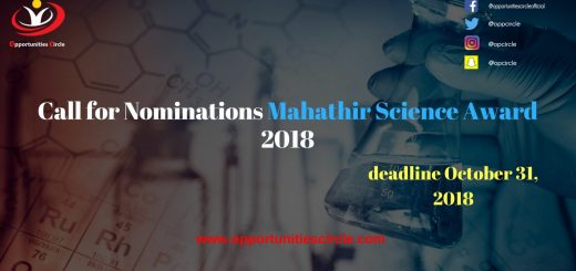 Call for Nominations Mahathir Science Award 2018