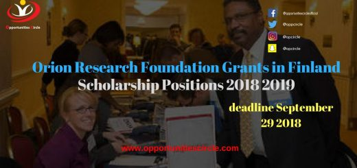 Orion Research Foundation Grants in Finland 2018 Scholarship Positions 2018 2019