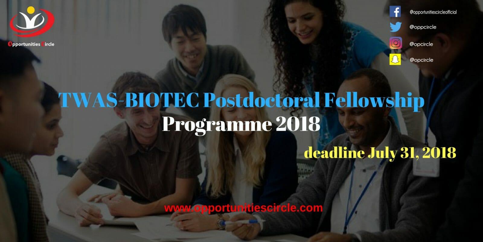TWAS BIOTEC Postdoctoral Fellowship Programme 2018 - TWAS-BIOTEC Postdoctoral Fellowship Programme 2018