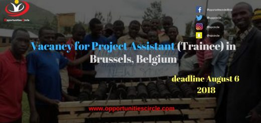 Vacancy for Project Assistant (Trainee) in Brussels, Belgium