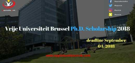Vrije Universiteit Brussel Ph.D. Scholarship 2018