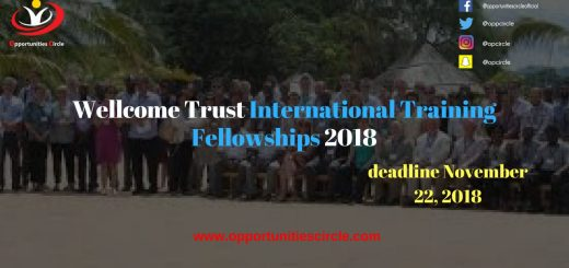 Wellcome Trust International Training Fellowships 2018