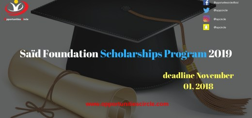 Saïd Foundation Scholarships Program 2019