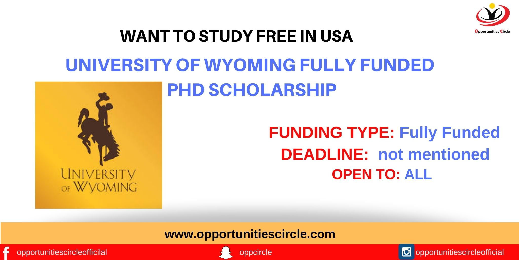 University of Wyoming Fully Funded PhD Scholarship in USA ...