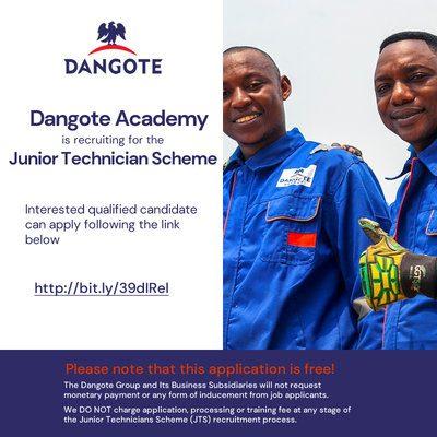 Dangote Academy Junior Technician Scheme 2020