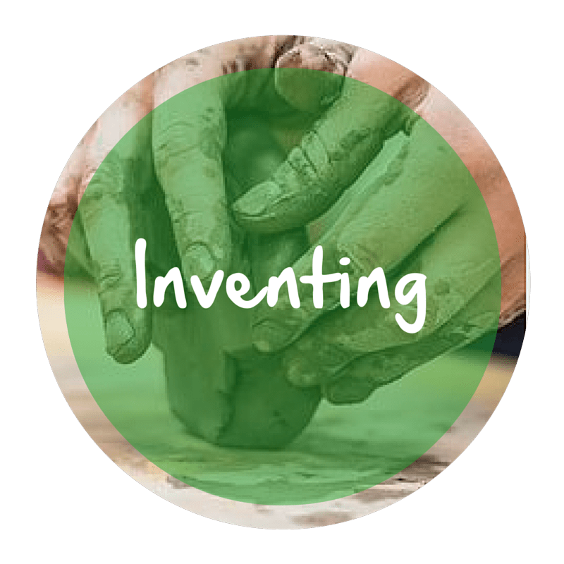 "The word ""Inventing"" appears in white text over a green circle atop a picture of a person working with clay."