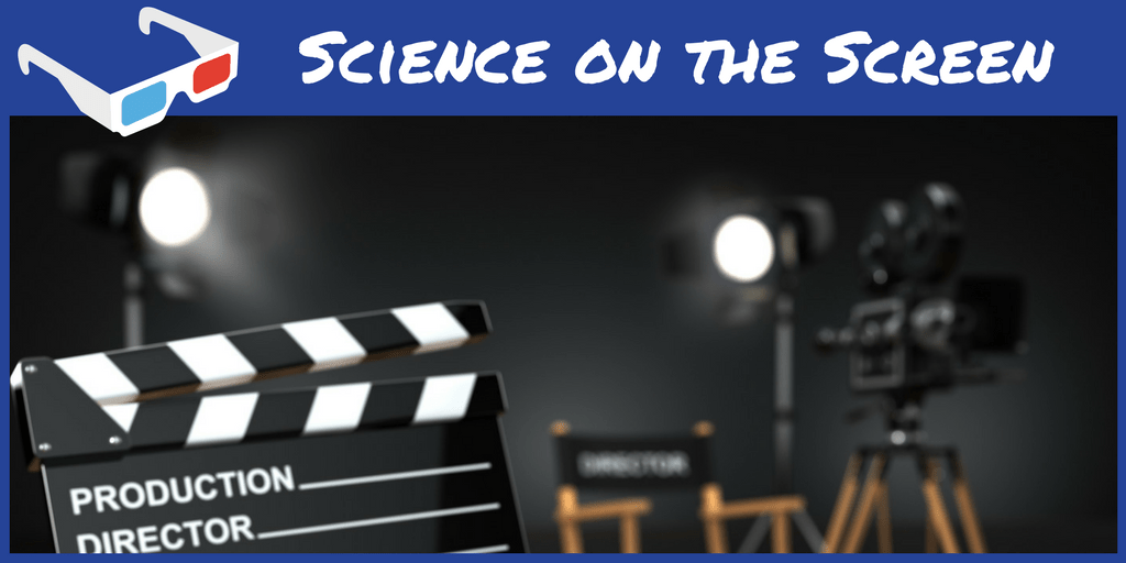 Science on the Screen over an image of movie lights, a clapper, and a director's chair