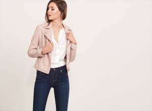 Blush Leather Moto Jacket