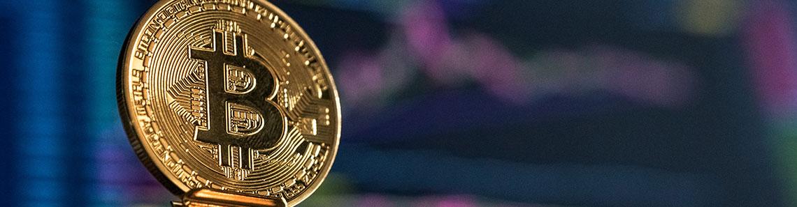 Blockchain logo on coin