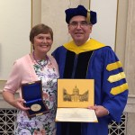 Steve and Betsy Fantone, with Stephen D. Fantone Distinguished Scholar Award from U of R, May, 2015