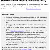 Googlebot nemůže získat přístup na vaše stránky