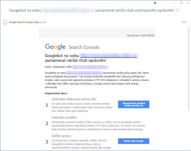 Googlebot zaznamenal nárůst chyb autorizačního oprávnění