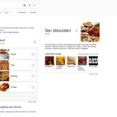 """Anketa na dotaz """"den díkuvzdání"""" v SERP Google"""