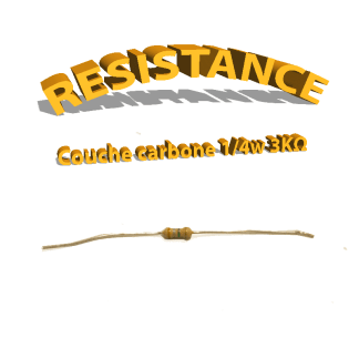 Résistance 3 kohm à couche Carbone 1/4W