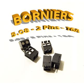 Bornier 2 pôles - Pas 5,08 - 16A