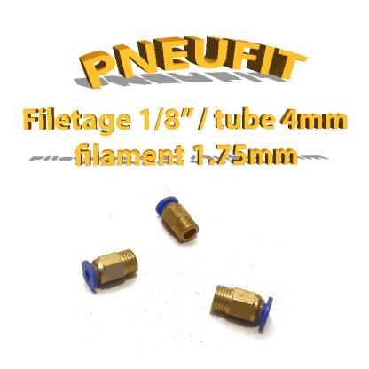 Pneufit bleu 1/8 - tube 4mm - Filaments 1,75mm