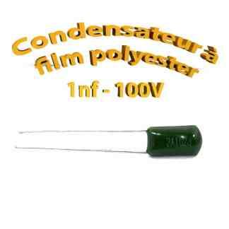 Condensateur à film polyester 1nf - 100Volt - Code:102
