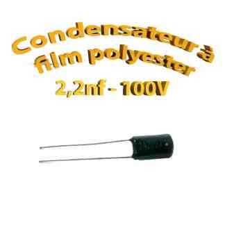 Condensateur à film polyester 2,2nf - 100Volt - Code:222