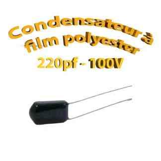 Condensateur à film polyester 220pf - 100Volt - Code:221