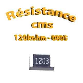 Résistance cms 0805 120kohm 1% 1/8w