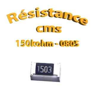 Résistance cms 0805 150kohm 1% 1/8w