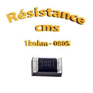 Résistance cms 0805 1kohm 1% 1/8w