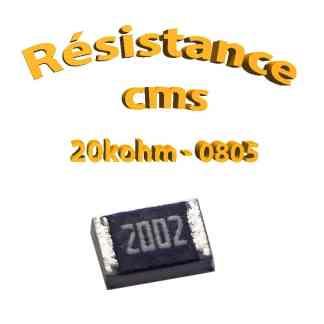 Résistance cms 0805 20kohm 1% 1/8w