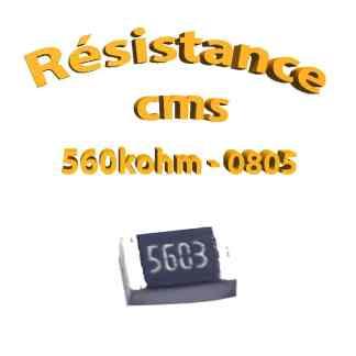 Résistance cms 0805 560kohm 1% 1/8w