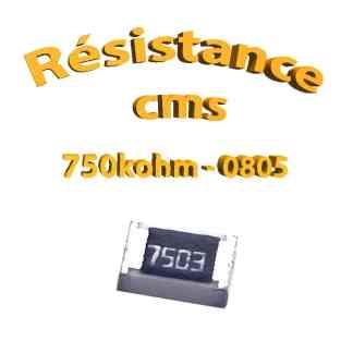 Résistance cms 0805 750kohm 1% 1/8w