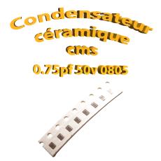 Condensateur ceramique 0,75pf - 50v -10 % - 0805