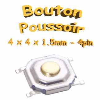 Bouton Poussoir 4x4x1.5mm - 4pin - à souder pour CI