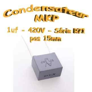 Condensateur Polypropylène 1uf MKP 420Vdc - Pas 15mm - R71