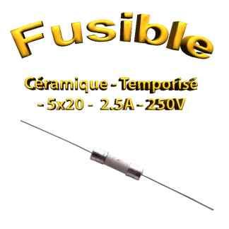Fusible Temporisé 2,5A 250v -T2.5AL250V - à souder -5x20mm