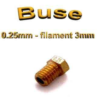 Buse E3D 0.25mm 3mm - laiton - M6 - (compatible)
