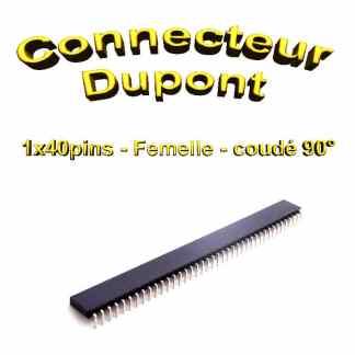 Connecteur dupont CI 2.54 Femelle 1x40 pins - Coudé 90°