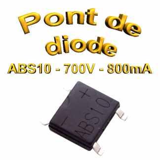 ABS10 - Pont de diodes 0,8A - 1000V - 700v rms - CMS/SMD