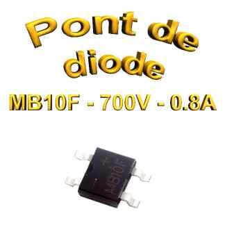 MB10F - Pont de diodes 0,8A -1000V - 700v rms - CMS/SMD