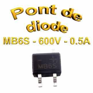 MB6S - Pont de diodes 0,5A - 600V - 420v rms - CMS/SMD