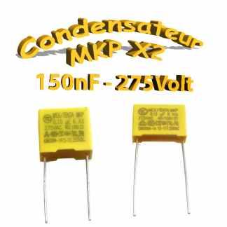 Condensateur Polypropylène 150nf 0.15uf MKP x2 275Vac