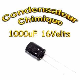 Condensateur électrolytique polarisé 1000uF 16V- 10x12mm - 20%
