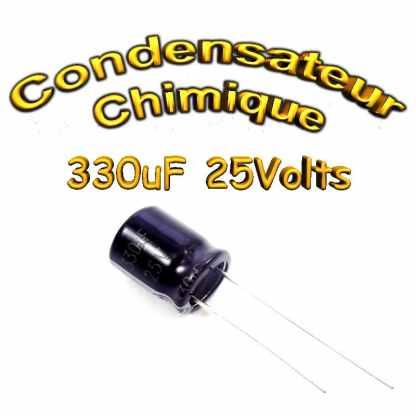 Condensateur électrolytique polarisé 330uF 25V- 10x12,5mm - 20%
