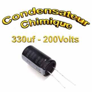 Condensateur électrolytique polarisé 330uF 200V- 18x35,5mm - 20%