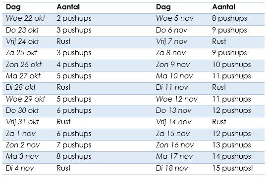 push up schema voor thuis