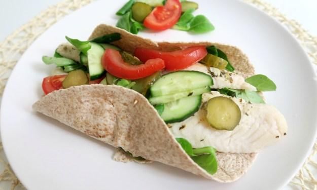 Lunch met wrap en groenten