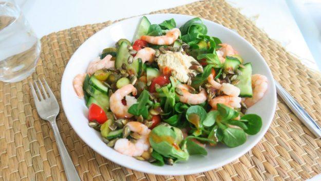 Salade Garnalen en Kikkererwten